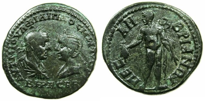 Ancient Coins - THRACE.MESEMBRIA.Philip I AD 244-249 with Octacilia Severa.AE.27.7mm.~#~.Hermes standing holding purse and caduceus.