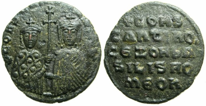 Ancient Coins - BYZANTINE EMPIRE.Constantine VII Porpyrogentus AD 913-959, regency issue under Zoe AD 914-919.AE.Follis