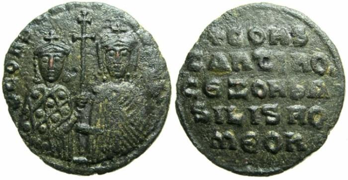 Ancient Coins - BYZANTINE EMPIRE.Constantine VII Porpyrogentus AD 913-959, regency issue under Zoe AD 914-919.AE.Follis