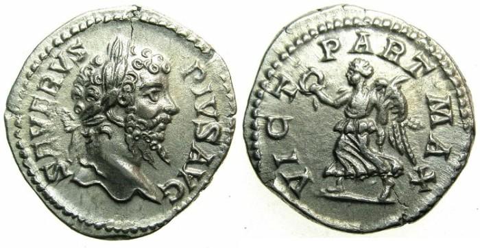 Ancient Coins - ROMAN.Septimius Severus AD 193-211.AR.Denarius undated issue c.202-210.~~~Victory over the PARTHIANS - Victory holding wreath