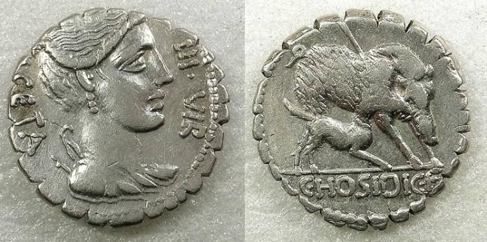 Ancient Coins - ROME Republic CC.Hosidius L.f.Geta 68BC AR Denarius