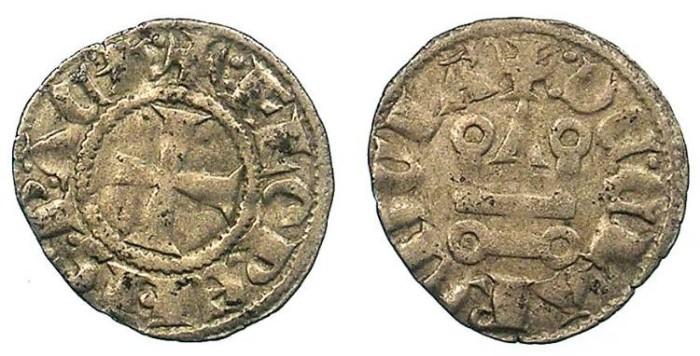 Ancient Coins - CRUSADER.Achaia.Florent de Hainault AD 1289-1297.Bi.Denier