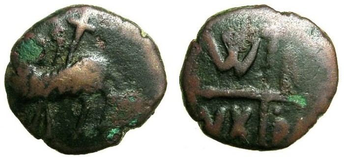Ancient Coins - ITALY.SALERNO.William I AD 1154-1166.AE.Follaro.~~~Pascal lamb.
