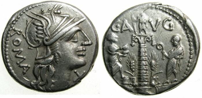 Ancient Coins - ROME.REPUBLIC.C.Manucius Augurinus 135 BC.AR.Denarius.~~~The Columna Minucia