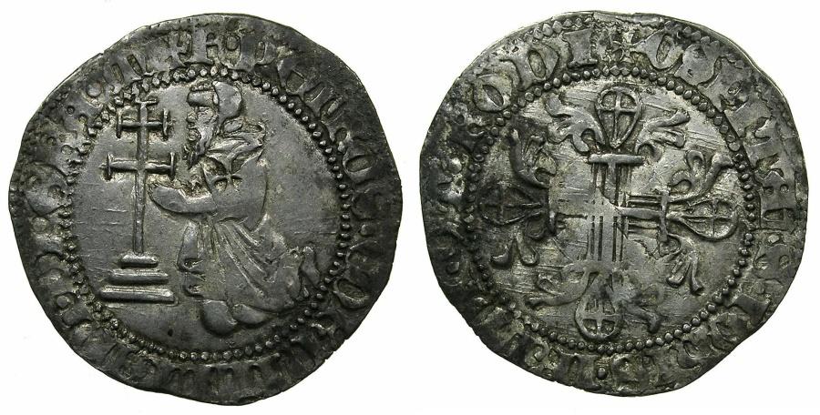 World Coins - RHODES.Knights of Saint John. Pierre de Corneillian AD 1354-1355.AR.Gigliato. **** Ex Slocum collection ****
