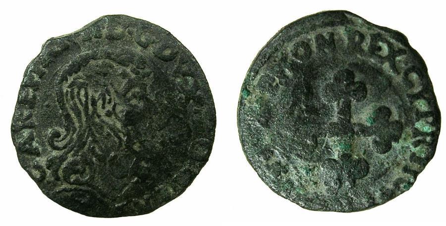 World Coins - ITALY.SAVOY.Carlo Emanuele II Duke 1648-1675.AE.Mezzo Soldo.1641.***Extremely Rare issue ***
