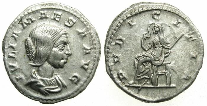 Ancient Coins - ROMAN.Julia Maesa, grandmother of Elagabalus and Severus Alexander.died C.225 AD.AR.Denarius.Mint of ROME.