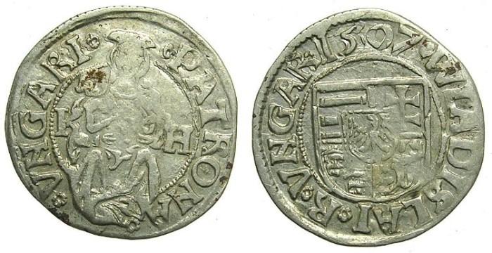 Ancient Coins - HUNGARY.Wladislaw II AD 1490-1516.AR.Denar 1507.Kremnitz  mint.