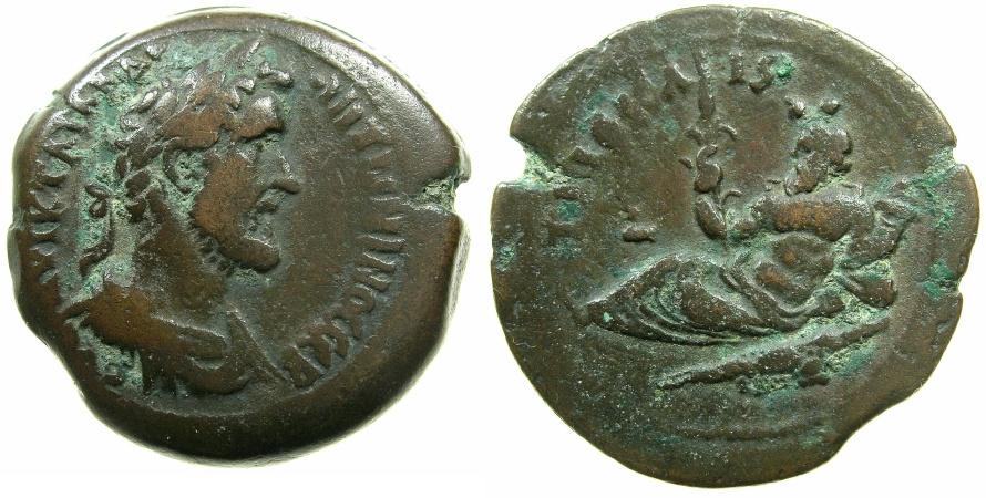 Ancient Coins - EGYPT.ALEXANDRIA.Antoninus Pius AD 138-161.AE.Drachma.struck AD 149/50.~#~.Nilus reclining on Crocodile.
