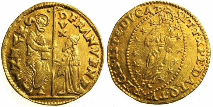 Ancient Coins - ITALY.VENICE.francesco Venier  AD 1554-1556.AV.Zecchino.