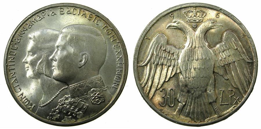 World Coins - GREECE.Kingdom.AR.30 Drachmai 1964. Comm. marraige Constantine and Maria.
