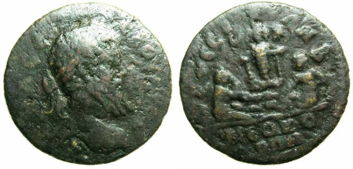 Ancient Coins - IONIA.EPHESUS.Septimius Severus AD 193-211.AE.22.Two children playing with astragalis before statue of Artemis.