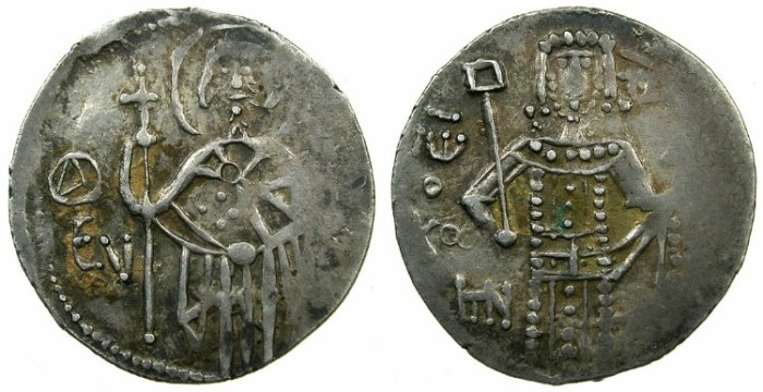 Ancient Coins - EMPIRE OF TREBIZOND.John II AD 1280-1297.AR.Asper.~~~ Standing figure of Saint Evgenius.