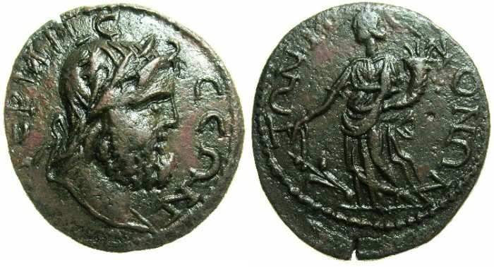 Ancient Coins - PISIDIA.TERMESSOS MAJOR.Circa 3rd-4th Cent AD.29.~~~Zeus laurate.~#~.Tyche ( Fortuna ).