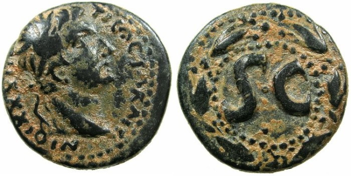 Ancient Coins - SYRIA.SELECIS AND PIERIA.ANTIOCH.Tiberius AD 14-37.AE.As?.Struck AD 31/32.