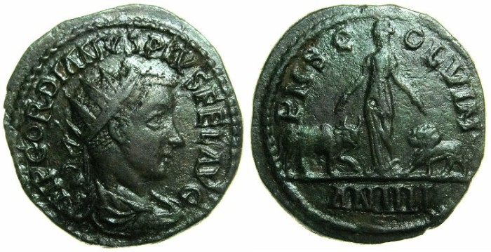 Ancient Coins - MOESIA SUPERIOR.VIMINACIUM.Gordian III AD 238-244.AE.24.4mm~~~Moesia standing with Lion and Bull