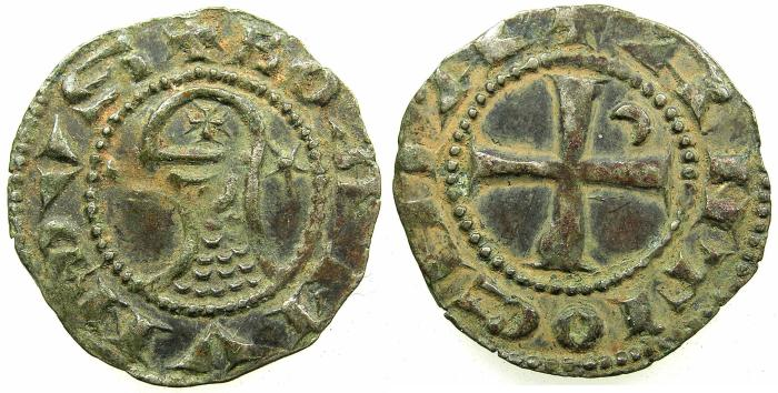World Coins - CRUSADER STATES.Principality of Antioch. Bohemond IV 1201-1233 or Bohemond V 1233-1251 Bi.Denier.Class 0.
