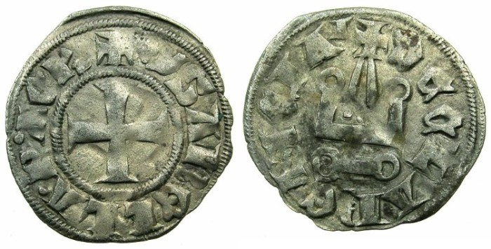 Ancient Coins - CRUSADER STATES.GREECE.Principality of ACHAIA.Isabella of Villehardouin AD 1289-1297. Billon Denier.Type Y3.