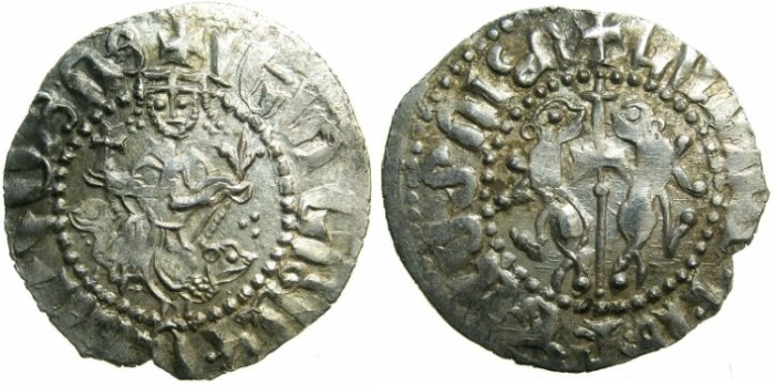 Ancient Coins - CILICIAN ARMENIA.Levon I AD 1199-1219.AR.Tram.~~~Sigla three dots.