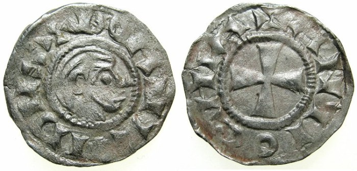 Ancient Coins - CRUSADER.ANTIOCH.Bohemond III AD 1149-1201.Bi.Denier.Class A.Minority issue AD 1149-1163.