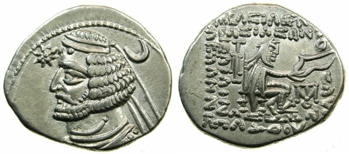 Ancient Coins - PARTHIA.Orodes II 57-38 BC.AR.Drachma.Mint of MITHRADATKART.Scarce mint.