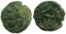 "Ancient Coins - BYZANTINE EMPIRE.Justin II AD 565-578.AE.1/2 Follis "" Moneta Militaris Imitativa"" Mint of CYZICUS."