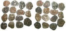 Ancient Coins - PSEUDO BYZANTINE.SYRIA.7th cent AD.Imitative folles after Heraclius and Constans II.15 coins offered as one lot.