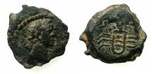 Ancient Coins - EGYPT.ALEXANDRIA.Trajan AD98-117.AE.Dichalkon, struck AD 109/10.~#~.Sistrum.