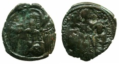 Ancient Coins - BYZANTINE EMPIRE.Andronicus II and Michael IX AD 1294-1320 or later.AE.Assarion.Mint of Constantinople.Class IX.