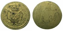 World Coins - ITALY.MILAN?. Late 18th cent.Brass weight for Portugal Gold Peca ( 6400 Reis ).
