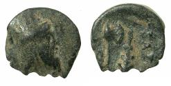 Ancient Coins - Artaxiads of ARMENIA.Tigranes VI ,1st reign AD 60-62.AE.14.2mm. Reverse. Labrys and club.