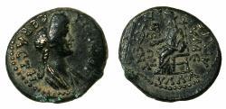 Ancient Coins - PHRYGIA.EUMENEA.Domitia Augusta AD 85-96.AE.17.5mm. Reverse.Kybele enthroned.