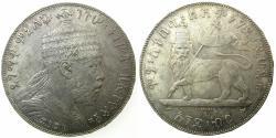 World Coins - ETHIOPIA.Menelik II AD 1889-1913.AR.Bir AD 1887A ( Paris mint ).