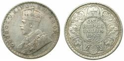 World Coins - INDIA.British Rule.George V 1910-1936.AR.One Rupee 1922 Bombay mint.
