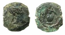 Ancient Coins - EGYPT.ALEXANDRIA.Trajan AD 98-117. AE.Dichalkon, AD 112/113. Anepigraphic issue. Reverse. Vase.