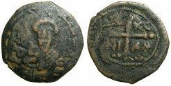 World Coins - CRUSADER STATES.ANTIOCH.Tancred AD 1104-1112.AE.Follis.2nd Type. ****  Overstrike on a broad flan *****