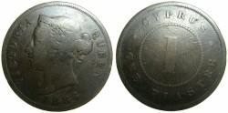 World Coins - CYPRUS.British Administration.Victoria.AE 1 Piastre 1886.