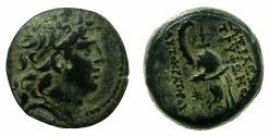 Ancient Coins - SELEUCID EMPIRE.ANTIOCH.Tryphon C.141-138 BC.AE.18mm.~#~.Macedonian helmet with spike.