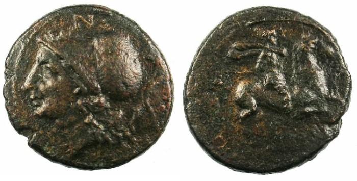 Ancient Coins - SICILY.Hispanorum.c.2nd cent BC.AE.20.Athena.Rev.Horseman.