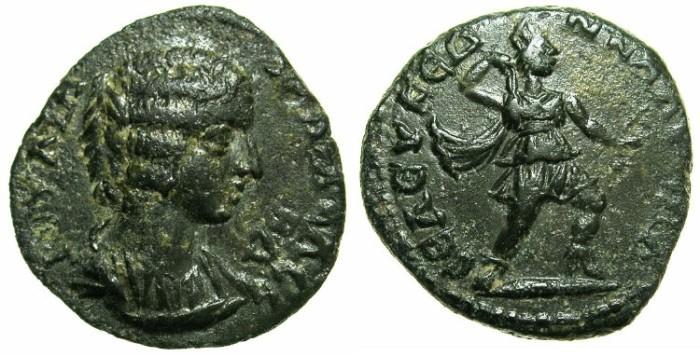 Ancient Coins - CILICIA.Seleucia ad Calycadnum.Julia Domna, wife of Septimius Severus AD 193-211.AE.21.7mm.~#~.Artemis drawing quiver from bow-case.