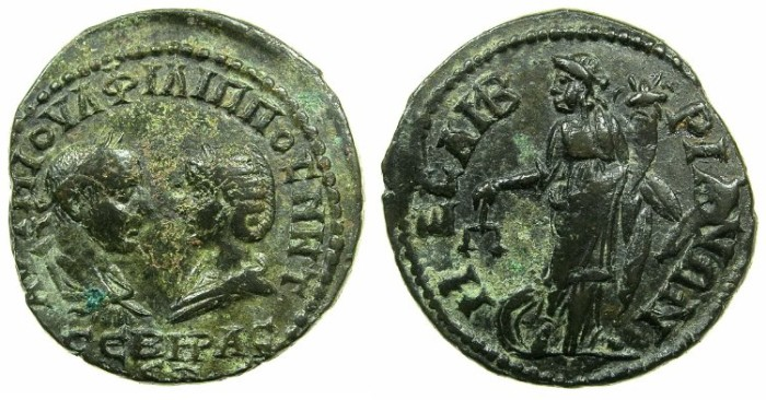 Ancient Coins - THRACE.MESEMBRIA.Philip I AD 244-249 with Octacilia Severa.AE.27mm.~#~.Nemesis - Dikaiosyne