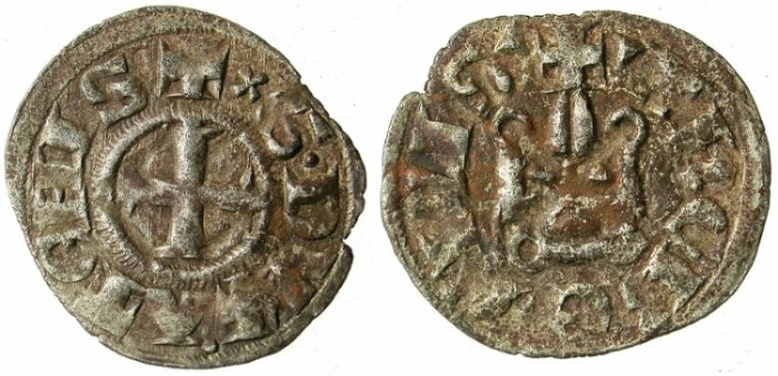 Ancient Coins - CRUSADER STATES.GREECE.ATHENS.William I of la Roche AD 1280-87 or Guy II of la Roche AD 1287-1308.Bi.Denier.Type A3.