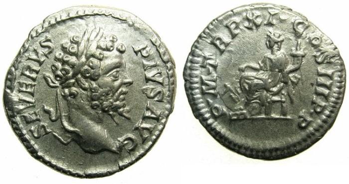 Ancient Coins - ROMAN.Septimius Severus AD 193-211.AR.Denarius AD 203.~~~Fortuna seated.