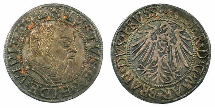 Ancient Coins - GERMANY.PRUSSIA.Albert of Brandenburg 1525-1569.AR.Grosch.1542