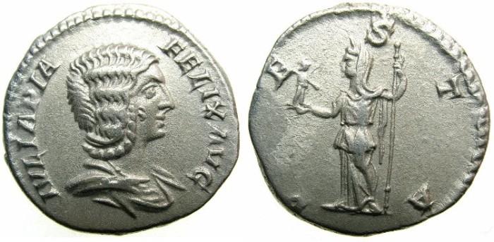 Ancient Coins - ROMAN.Julia Domna Augusta under Caracalla AD 211-217.AR.Denarius.~~~VESTA.
