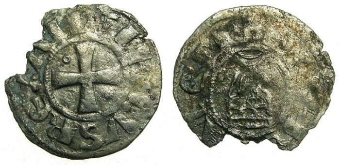 Ancient Coins - CRUSADER STATES.Kingdom of Jerusalem.Amaury AD 1163-1174.Bi.Denier .