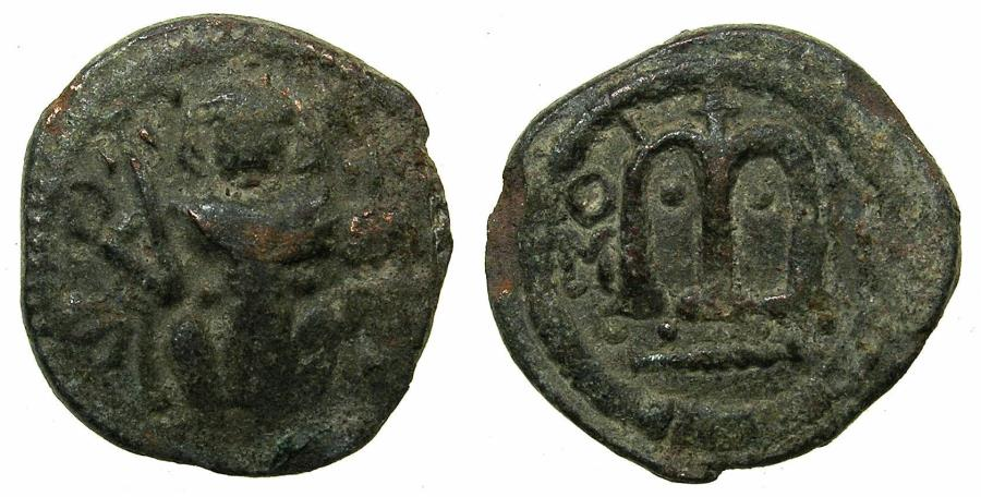 Ancient Coins - ARAB BYZANTINE.Anonymous 7th AD.AE.Fals.Standing Imperial figure.Pseudo Damascus mint.Obverse .Seated imperial figure.