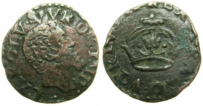World Coins - ITALY.Kingdom of NAPLES.Charles V Holy Roman Emperor AD 1516-1556.AE.2 Cavalli.~~~Obverse legend error.