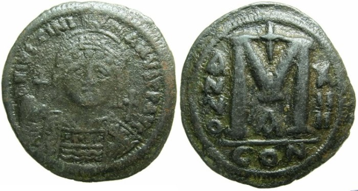 Ancient Coins - BYZANTINE EMPIRE.Justinian I AD 527-565.AE.Follis.AD 540/41.Mint of CONSTANTINOPLE.