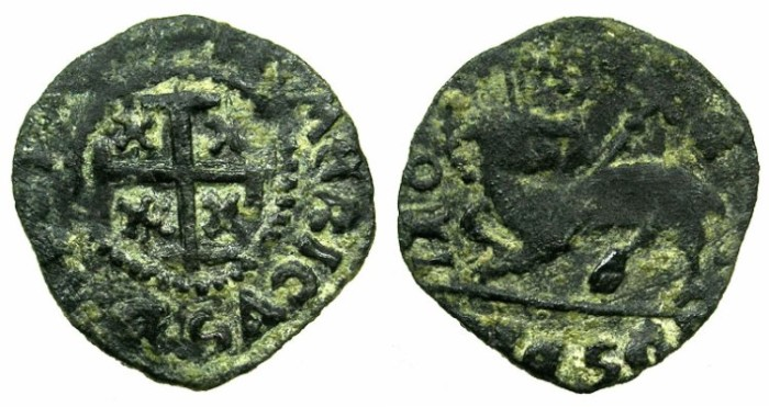 Ancient Coins - RHODES.Knights of Saint John.Emery D'Aboise AD 1503-1513.AE.Denier.3rd type.****RARE****